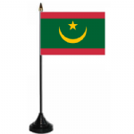 Mauritania Desk / Table Flag with plastic stand and base